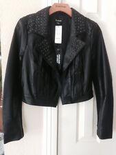bebe leather jacket  grommet contrast crop Zipper Black $298