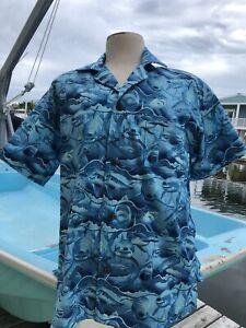 """Dangerous Waters"", 2XL , SOMETHING FISHY Handmade Shirt, Hawaiian, Cotton,"