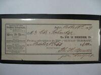 1859 Canceled Check From Buffalo Telegraph, Buffalo NY.  #51