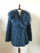 Gucci Shearling Mongolian Lamb Teal Fur Coat Size 36