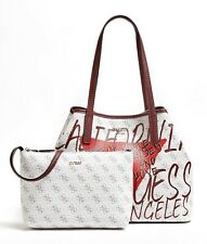 Guess Vikky Large Tote Bag Front Print White Multi, Women's Bag Handbag Shopper