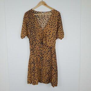 Ghanda Women's Mini Dress V Neck Tire Front Short Sleeve Leopard Print Size M