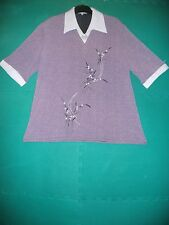 Ladies Size XXXL (22) Mauve White Collar Floral Printed Short Sleeved Tunic Top