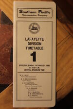 SOUTHERN PACIFIC RAILROAD LAFAYETTE DIVISION EMPLOYEE TIMETABLE #1  10-31-1982