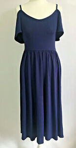 Asos Navy Blue Dress 8 but easily 10 Fit Flare Midi Off Shoulder Soft Jersey