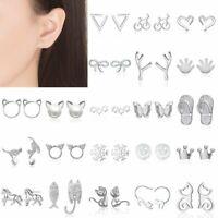 Charm Women's Girl Earrings Silver Cute Cat Animal Ear Stud Jewelry Party Gifts
