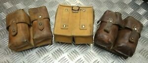 Genuine Vintage Military Issued Double Leather Ammo / Utility Small Pouch Used