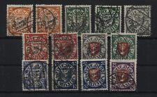 Danzig Dienstmarken 41-51 + zwei Farben gestempelt (B04182)