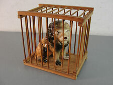 CERAMIC BONE CHINA CIRCUS LION BIG CAT FIGURINE BAMBOO CAGE VINTAGE 1960s OLD
