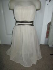 BNWT £55 UK 10 Topshop Dress Strapless Beige Nude Gold Waist Wedding Christening