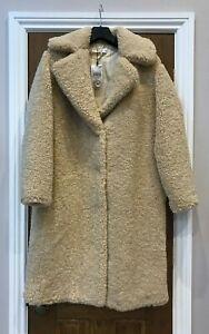 MANGO teddy COAT shearling SIZE S 8 10 LIGHT BEIGE OVERSIZED BNWT RRP £120