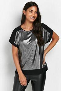 Wallis Womens TALL Silver Contrast Plisse T Shirt Top Blouse Short Sleeve