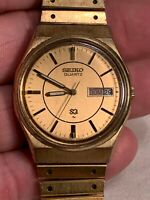 Vintage 1982 SEIKO SQ Quartz day/date Wristwatch WATCH 7125 8519P 8519 Engraved