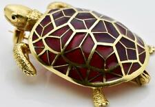 WOW! Rare MUSEUM antique French Cartier 18k gold&enamel Turtle brooch
