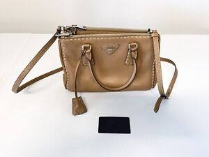 PRADA Caramel Saffiano Lux Leather Tote Bag BN2316 Authentic Crossbody