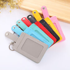 Durable Leather ID Card Holder Card Pocket Case Badge With Keychain Key Ring