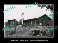 OLD HISTORIC PHOTO FARMINGTON CONNECTICUT UNIONVILLE RAILROAD STATION c1940