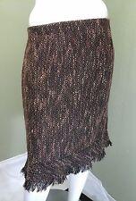 C.L.C Women's Brown / Beige Tweed Skirt W/ Fringed Hem~Size 18