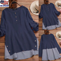 US Womens Casual Button Tunic Blouse Long Sleeve Loose Cotton Linen T Shirt Tops