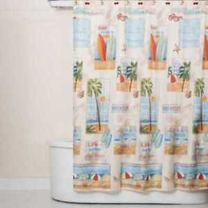 """Saturday Knight Limited Edition Beach Time Fabric Shower Curtain 70"""" × 72"""""""