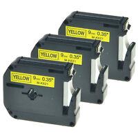 3x MK Etikettenband MK-621 für Brother PT-65 70BMH 90 110 Schwarz auf Gelb 9mm