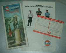 Old Gulf Oil Co Petroliana Collection (Tourgide Boston Road Map + Ad + Postcard)