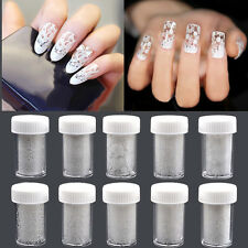 10 Rolls of Nail Art White Design Lace Roses Floral Transfer Foil Star Stickers