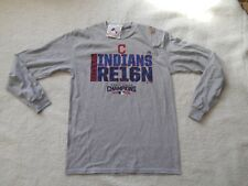 100% Authentic Majestic Cleveland Indians L/S World Series Shirt Men M TAGS NEW!