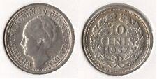 """Niederlande 10 Cents 1937 SILBER """"Wilhelmina (1890-1948)"""" vorzüglich"""