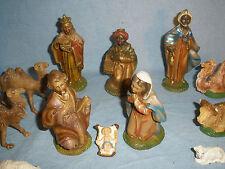 "16 pcs Vtg 5"" Fontanini Italy Handpainted Manger Nativity Creche Figures Xmas"