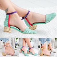 Vintage Women Block Heel Pumps Ladies Ballerina Ankle Strap Sandals Casual Shoes