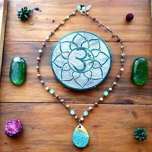 The 'Sea Grass' Necklace Crystal Gemstone Pendant Yoga EcoHemp GypsyLee Jewels ♡