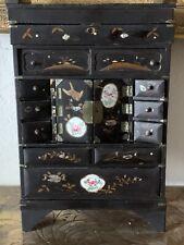 New ListingRare Antique Japanese Inlay Diminutive Wood Cabinet