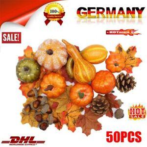 50 Stlk Künstliche Halloween Kürbis Dekoration Tischdeko Herbst Deko Kürbisse