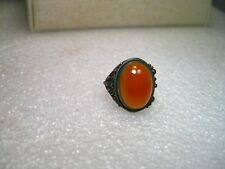 Vintage Ring Sterling Silver Beduoin Carnelian Ring, size 3.75, oval, domed, 2.3