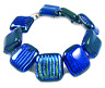 """DICHROIC Link Bracelet Blue Green Teal Striped Texture Fused Glass 3/4"""" X 7.5"""""""