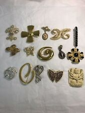 Lot Of 9 Pins Brooches Some Signed Vintage Costume Jewelry Mixed Lot Buddha