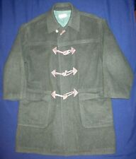 Vintage Gucci Green Wool Alpaca Overcoat Coat Jacket Real Horn Buttons Leather