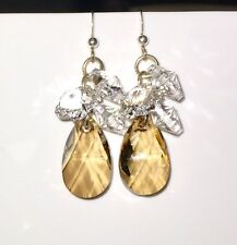Swarovski Elements Champagne & Crystal Clear Earrings / New