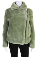 Paul & Joe Sister Womens Gabin Jacket Bottle Green Faux Fur Size 36
