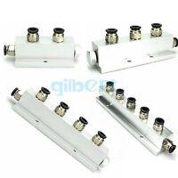 Push Fit 8mm 2/3/4/5 Way Solid Aluminum T-Shape Air Manifold Block Splitter