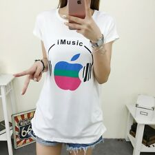 Fashion Womens Girls Casual Loose Print O-neck White T Shirt Blouse Tops Student