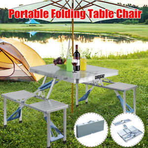 Aluminum Folding Camping Picnic Table With 4 Chair Seats Portable Outdoor Set