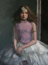 Portrait of a girl in a white skirt (original oil painting)