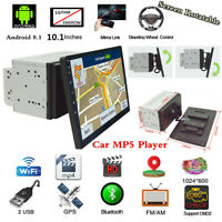 "Android 8.1 10.1"" Double Din Quad-core Car Stereo Radio MP5 Player Bluetooth GPS"
