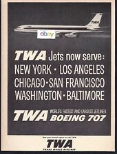 TWA TRANS WORLD AIRLINES BOEING 707 SUPERJETS 1959 NEW YORK/LAX/SFO AD
