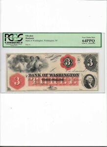 OBSOLETE BANK NOTE, $3 Bank of Washington, Washington, NC Very Choice New 64PPQ