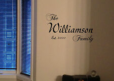 Family name custom vinyl Decal Established sticker