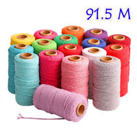 100m Long/100Yard Pure Cotton Twisted Cord Rope Craft Macrame Artisan String 2mm