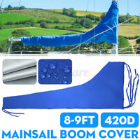 8-9ft 3M 420D Blue Sail Cover Mainsail Boom Sailboat Cover Waterproof Protection